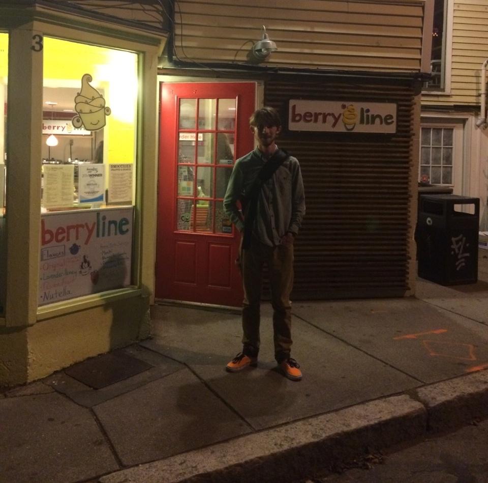 Me standing outside Berryline Frozen Yogurt shop